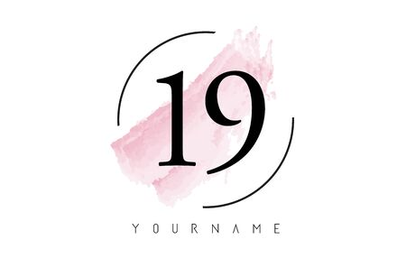 Number 19 Watercolor Stroke Logo with Circular Shape and Pastel Pink Brush Vector Design 일러스트