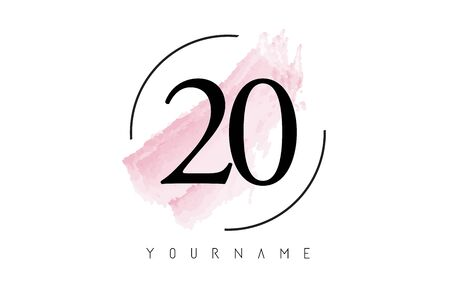 Number 20Watercolor Stroke Logo with Circular Shape and Pastel Pink Brush Vector Design