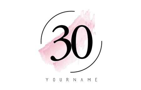 Number 30 Watercolor Stroke Logo with Circular Shape and Pastel Pink Brush Vector Design