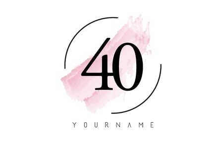 Number 40 Watercolor Stroke Logo with Circular Shape and Pastel Pink Brush Vector Design