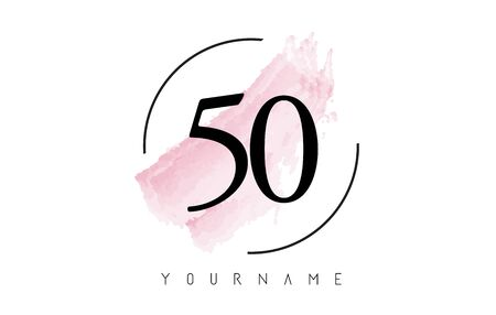 Number 50 Watercolor Stroke Logo with Circular Shape and Pastel Pink Brush Vector Design