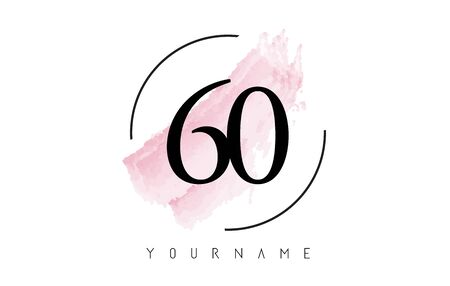 Number 60 Watercolor Stroke Logo with Circular Shape and Pastel Pink Brush Vector Design 일러스트