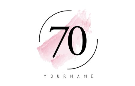 Number 70 Watercolor Stroke Logo with Circular Shape and Pastel Pink Brush Vector Design