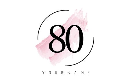 Number 80 Watercolor Stroke Logo with Circular Shape and Pastel Pink Brush Vector Design