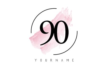 Number 90 Watercolor Stroke Logo with Circular Shape and Pastel Pink Brush Vector Design