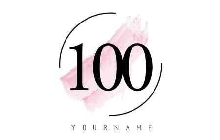 Number 100 Watercolor Stroke Logo with Circular Shape and Pastel Pink Brush Vector Design 일러스트