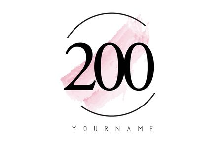 Number 200 Watercolor Stroke Logo with Circular Shape and Pastel Pink Brush Vector Design 일러스트