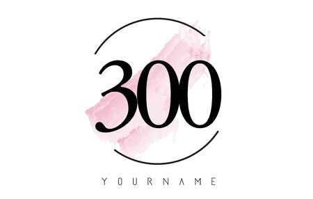 Number 300 Watercolor Stroke Logo with Circular Shape and Pastel Pink Brush Vector Design
