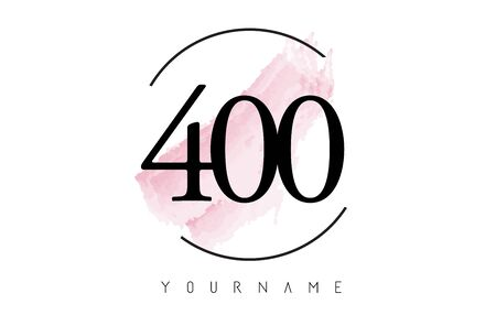 Number 400 Watercolor Stroke Logo with Circular Shape and Pastel Pink Brush Vector Design