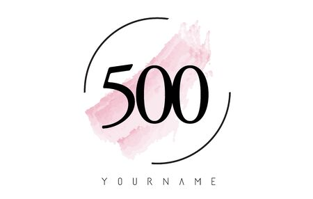 Number 500 Watercolor Stroke Logo with Circular Shape and Pastel Pink Brush Vector Design
