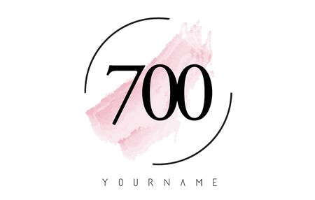 Number 700 Watercolor Stroke Logo with Circular Shape and Pastel Pink Brush Vector Design 일러스트