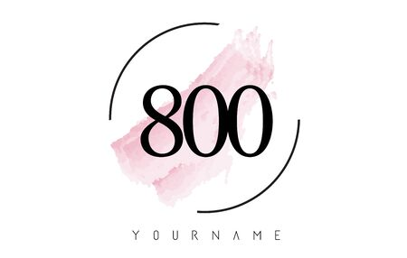 Number 800 Watercolor Stroke Logo with Circular Shape and Pastel Pink Brush Vector Design 일러스트