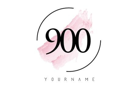 Number 900 Watercolor Stroke Logo with Circular Shape and Pastel Pink Brush Vector Design