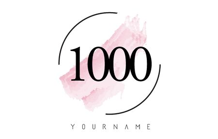 Number 1000 Watercolor Stroke Logo with Circular Shape and Pastel Pink Brush Vector Design 일러스트