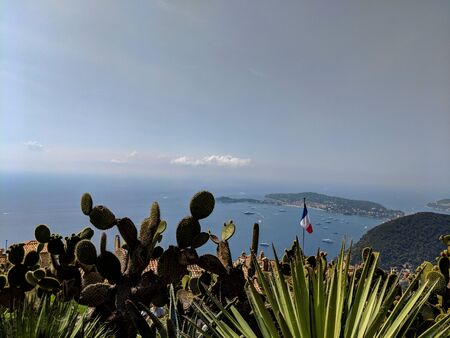 The Exotic Garden of Eze with its cactus collection, planted on the cite of medieval fortress, France.