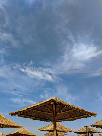 Reed Sun umbrellas on the beach against the blue sky with flying kites. 스톡 콘텐츠