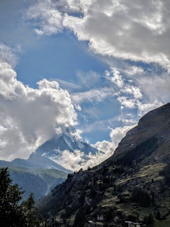 Clouds around Matterhorn peak taken from Zermatt, Switzerland