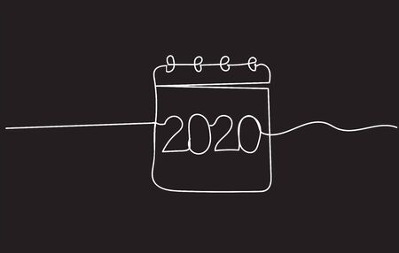 2020 single continuous line art. New Year greeting card headline decoration. One sketch outline drawing vector illustration