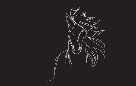 Vector image of a horse head design on black background, Horse Logo. Wild Animals. Vector illustration.