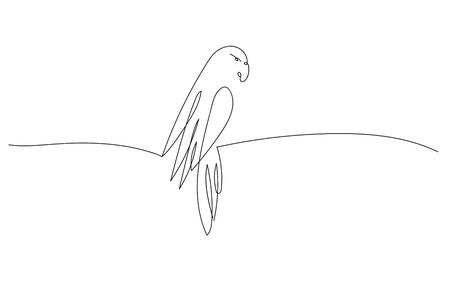 One line design of parrot. Hand drawn minimalism vector illustration. Иллюстрация
