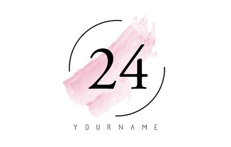 Number 24 Watercolor Stroke Logo with Circular Shape and Pastel Pink Brush Vector Design Logo