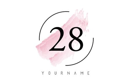 Number 28 Watercolor Stroke Logo with Circular Shape and Pastel Pink Brush Vector Design