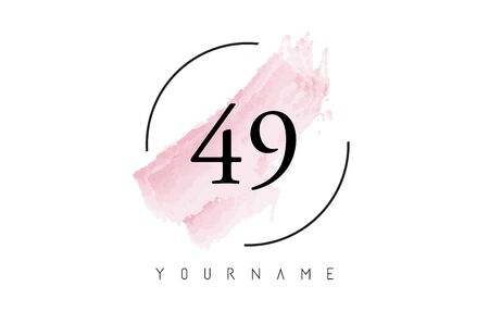 Number 49 Watercolor Stroke Logo with Circular Shape and Pastel Pink Brush Vector Design