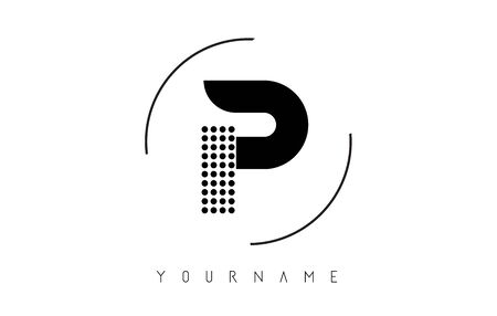 P Black Dotted Letter Logo Design with a circular rounded Frame. Dotted shape logotype.