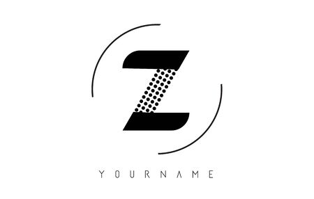 Z Black Dotted Letter Logo Design with a circular rounded Frame. Dotted shape logotype.