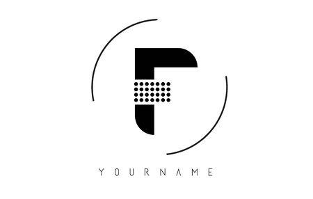 F Black Dotted Letter Logo Design with a circular rounded Frame. Dotted shape logotype. Ilustração