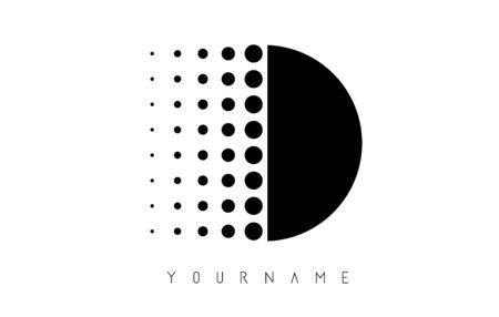 D Black Dotted Letter Logo Design. Dotted shape logotype.