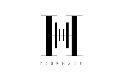 H Letter Logo with Graphic Elegant Black Lines Design. Minimalist art shape logo. Ilustração