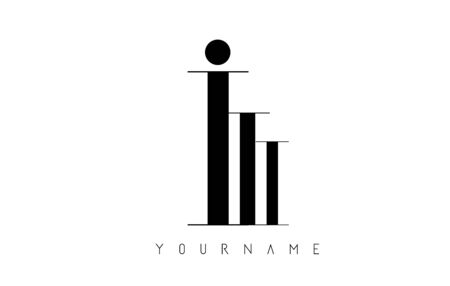 I Letter Logo with Graphic Elegant Black Lines Design. Minimalist art shape logo.