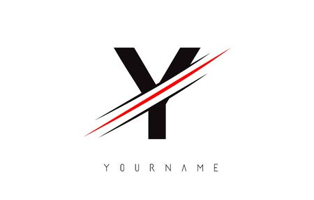 Y Letter Logo Design cutted in the middle with a red line and with sharp edges.  Creative logo design. Fashion icon design template. Ilustração