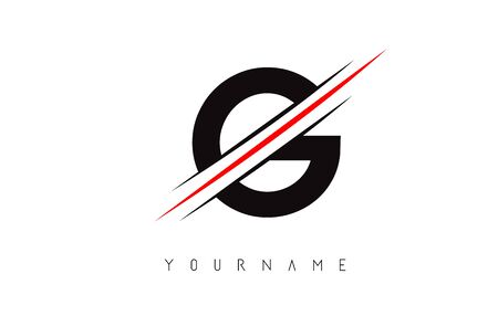 G Letter Logo Design cutted in the middle with a red line and with sharp edges.  Creative logo design. Fashion icon design template.