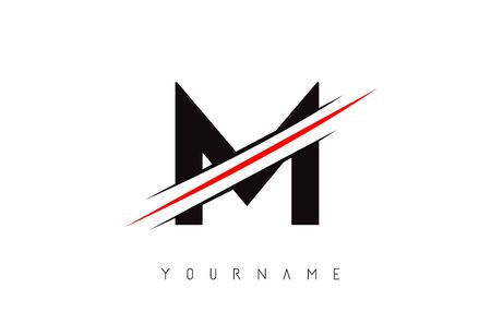 M Letter Logo Design cutted in the middle with a red line and with sharp edges.  Creative logo design. Fashion icon design template.