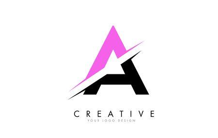 A Letter Logo Design with a Creative Cut and Pink Color. Creative logo design. Fashion icon design template. Ilustração