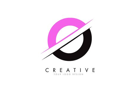 O Letter Logo Design with a Creative Cut and Pink Color. Creative logo design. Fashion icon design template.