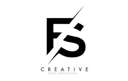 FS F S Letter Logo Design with a Creative Cut. Creative logo design..