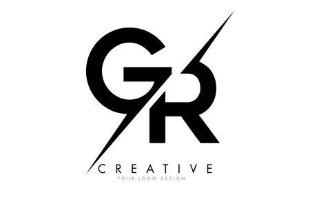 GR G R Letter Logo Design with a Creative Cut. Creative logo design..