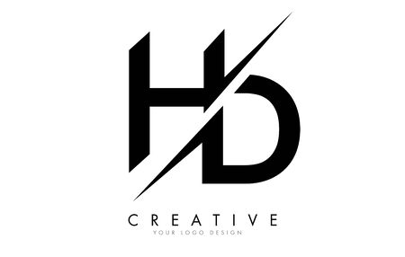 HD H D Letter Logo Design with a Creative Cut. Creative logo design..