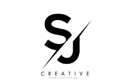 SJ S J Letter Logo Design with a Creative Cut. Creative logo design..