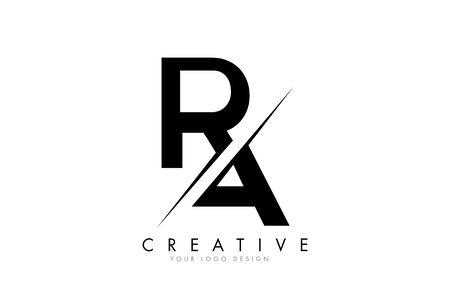 RA RA Letter Logo Design z kreatywnym cięciem. Kreatywne projektowanie logo... Logo