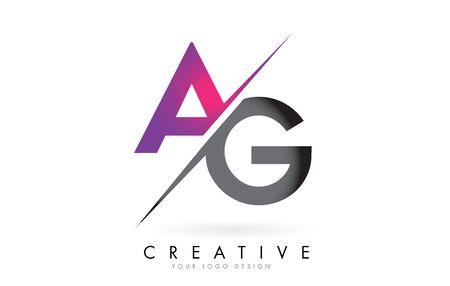 AG A G Letter Logo Design with a Creative Cut. Creative logo design. Ilustração