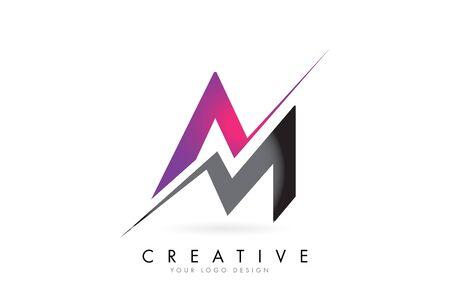 AM A M Letter Logo with Colorblock Design and Creative Cut. Creative logo design.