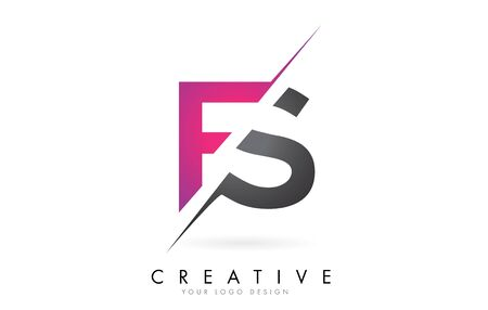 FS F S Letter Logo with Colorblock Design and Creative Cut. Creative logo design.