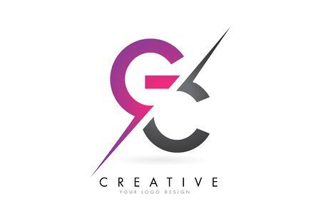 GC G C Letter Logo with Color block Design and Creative Cut. Creative logo design.