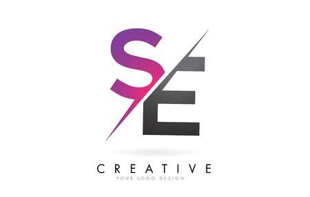 SE S E Letter Logo with Colorblock Design and Creative Cut. Creative logo design. Ilustração