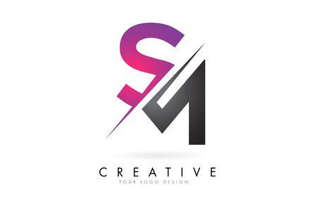 SM S M Letter Logo with Colorblock Design and Creative Cut. Creative logo design.