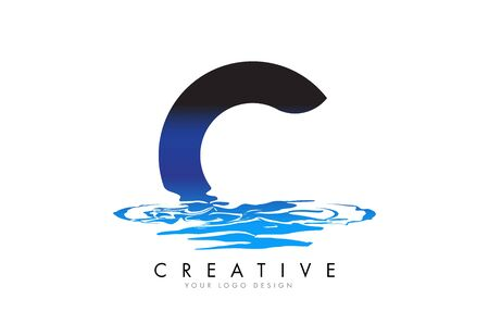 C Letter Logo Design with Water Effect and Deep Blue Gradient Vector Illustration. Template C -brand-name companies.